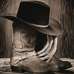 Cowboy hat, boots, and rope