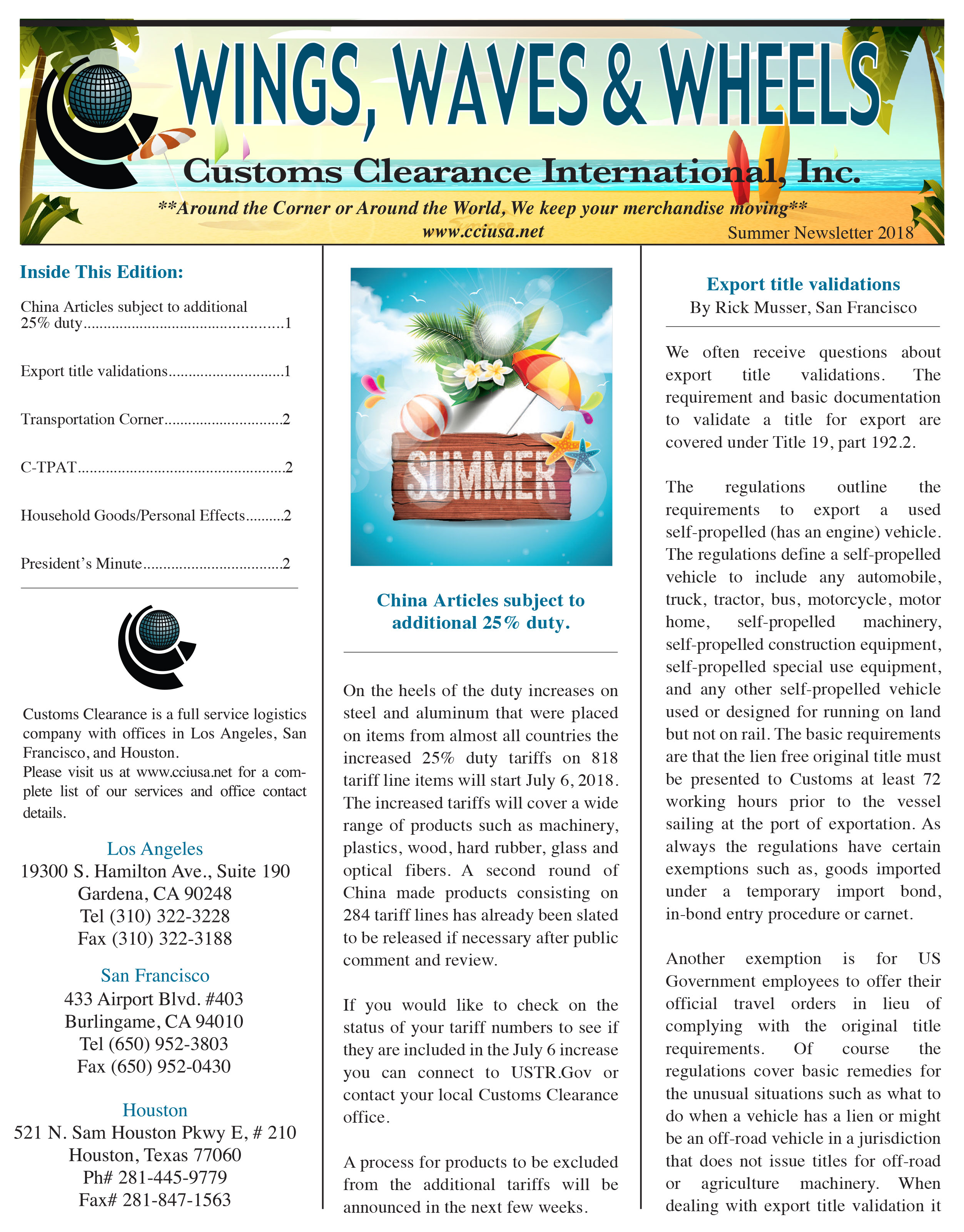 Importing Information  Company Newsletter And Importing Tips